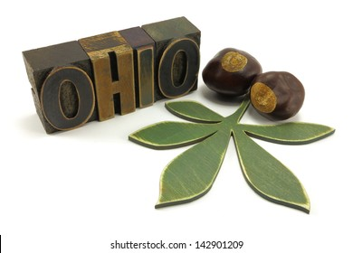 State of Ohio vintage letter press, buckeye leaf and two buckeyes to represent Ohio state tree