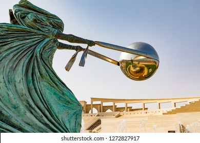 "State of Qatar. Doha. Sculpture called ""Force of Nature"" by Italian sculptor Lorenzo Quinn. February 27, 2017"