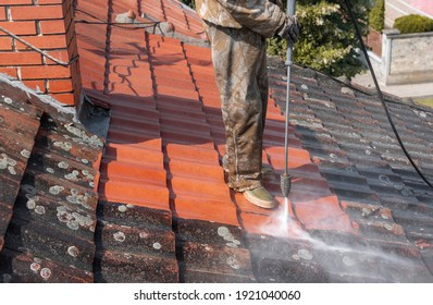 State of roof before and after washing with high pressure. Professional is wearing uniform and using equipment for cleaning.