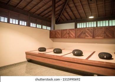 STATE OF ESPíRITO SANTO, BRAZIL - SEPTEMBER 26, 2019: Zafu meditation cushions inside Buddhist temple