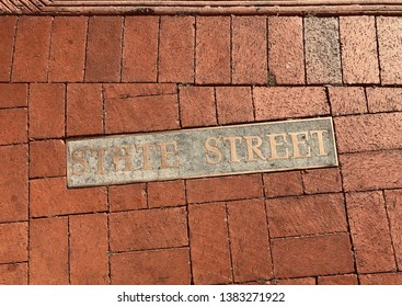 State Street of Santa Barbara, California. Brass Pavement sign embed on a walkway.