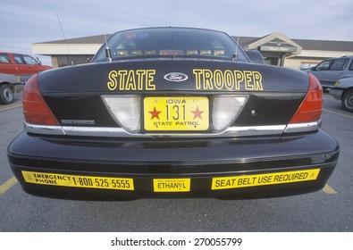State Trooper car, Iowa