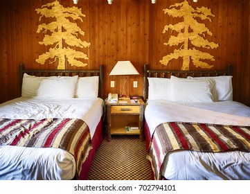 STATELINE, NEVADA, JULY 7, 2017: Interior of a double bed hotel room in Lakeside Inn and Casino, Nevada