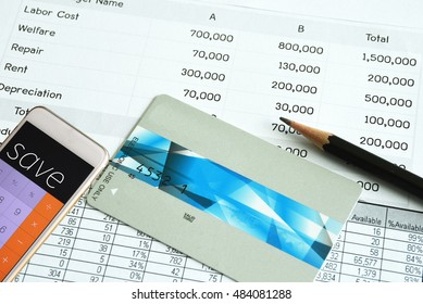 Statement account and Credit card with calculator for Business financial and loan