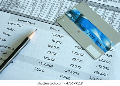 Statement account and Credit card with pen for Business and Financial and loan