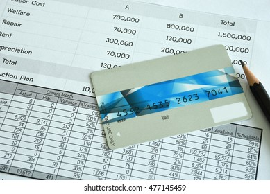 Statement account and Credit card with pen for Business financial and loan