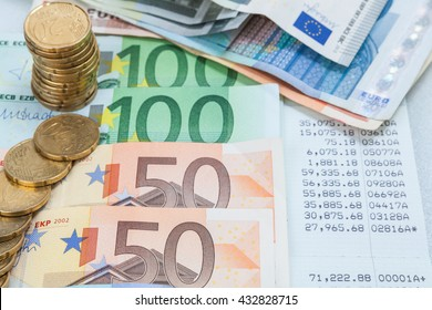 statement of account with the money on top / reviews the accounting benefits across many euro banknotes