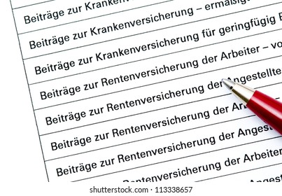 Statement of contribution paid for German social security (official form, no copyright), text means the contribution for the insurences