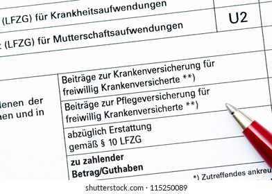 Statement of contribution paid for German social security, text asks for retirement savings and other social securities