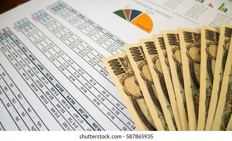 Statement report with money in financial concept