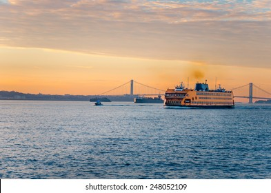 Staten Island Ferry at Dawn in Winter