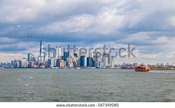 Staten Island Ferry and Lower Manhattan Skyline - New York, USA