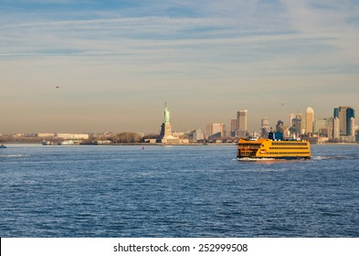 Staten Island Ferry and Statue of Liberty on a Winter Morning