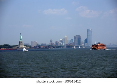 Staten Island Ferry and Statue of Liberty, New York Harbor,  New York City