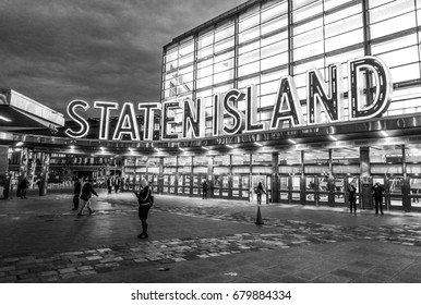 The Staten Island Ferry Terminal in Manhattan - South Ferry- NEW YORK CITY / NEW YORK - APRIL 2,2017