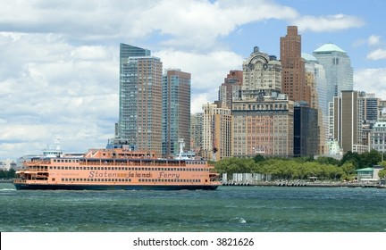 Staten Island Ferry in the upper bay of New York City against the skyline of lower Manhattan