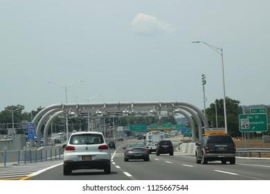 STATEN ISLAND, NEW YORK - JULY 1, 2018: Cashless toll station at the Verrazano-Narrows Bridge in Staten Island, New York