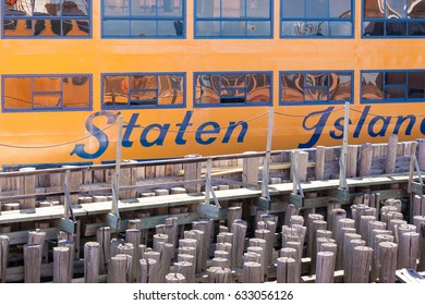 STATEN ISLAND, NEW YORK - March 29, 2017: Details of the Samuel I. Newhouse Ferry boat, of the Staten Island Ferry fleet, docked at St. George Terminal