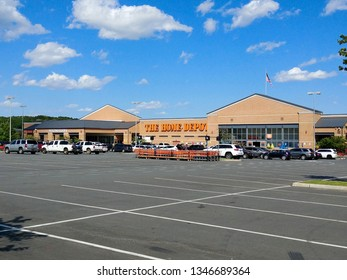 Staten Island, NY - August 23 2018: The parking lot for the Home Depot at Bricktown Center