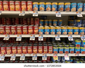 Staten Island, NY / USA - April 15, 2019: Campbells Chunky noodle soups versus General MIlls Progresso noodle soup battle over shelf space and pricing.