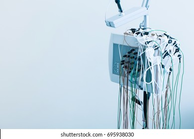 State-of-the-art electroencephalograph standing in lab