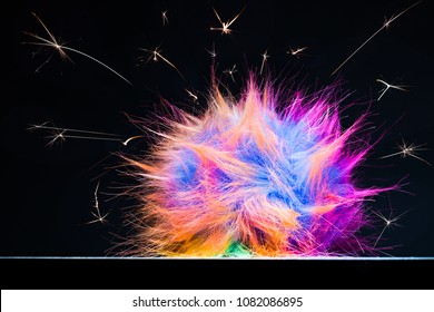 Static electricity or upbringing difficulties in adolescence concept.