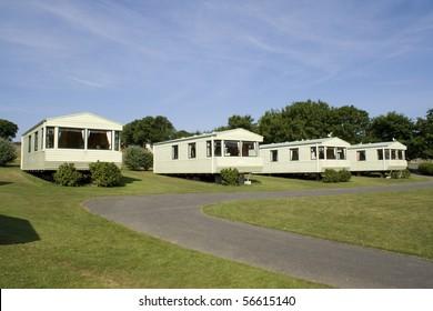 Static holiday caravans at a camping site