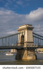 Static shot of the Chain Bridge in Budapest. Taken from the Buda side of the Danube on a September afternoon