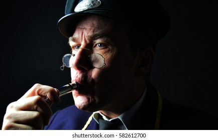 Station master blowing whistle