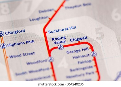 Station on a map of the Central metro line in London, UK.