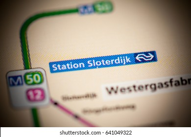 Station Sloterdijk Station. Amsterdam Metro map.