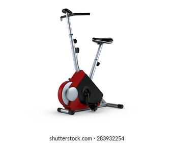 Stationary bike, gym machine over white background