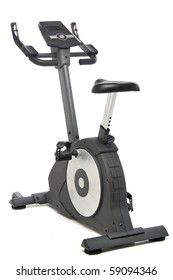 Stationary bike, gym machine over white background