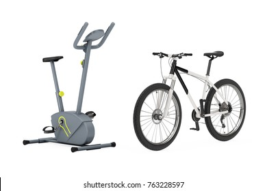 Stationary Exercise Bike Gym Machine near Black and White Mountain Bike on a white background. 3d Rendering