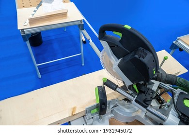 Stationary saw for woodworking. Joiner's workshop biznes. Professional carpentry tools. Concept - equipment for a furniture shop. Tool for furniture workshop. Wood cutting. Circular saw at workplace. - Shutterstock ID 1931945072