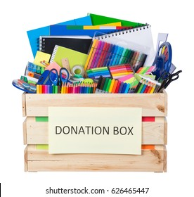 Stationary supplies donations box isolated on white background