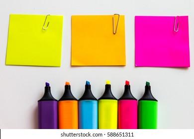 Stationery background - Group of stationery tools on white background