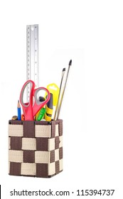 Stationery box And Tools Isolated