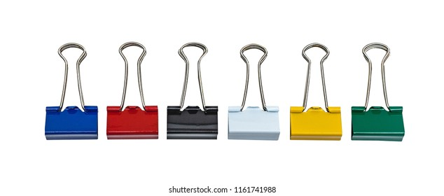 Stationery clips are colored. Isolated on white.