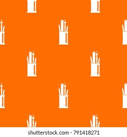 Stationery in cup pattern repeat seamless in orange color for any design.  geometric illustration
