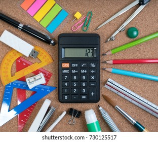 Stationery of education for mathematics class in school. Mathematics equipment and mathematics tools for basic math with calculator in the center.