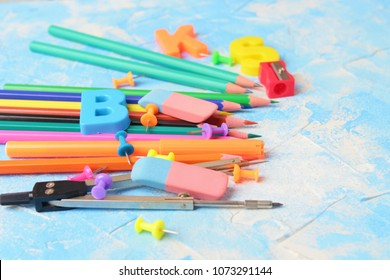 Stationery facilities.copy spase for text.set for children's creativity