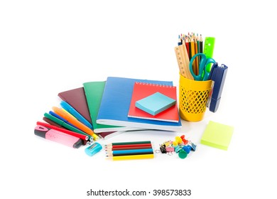 Stationery isolated on white background. school concept