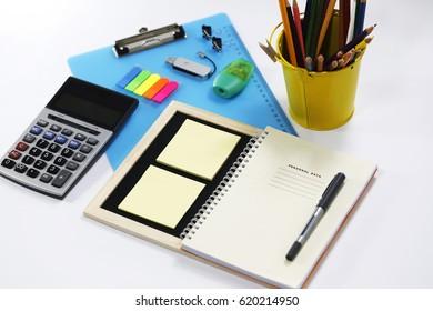 Stationery isolated on white background