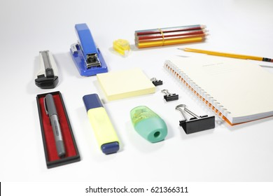 Stationery items isolated on white background. Back to school concept