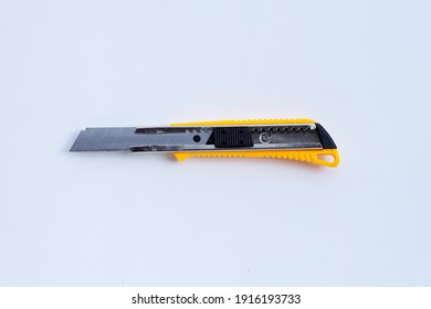 Stationery knife on white background.