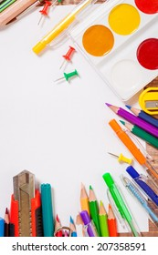 stationery objects on white background