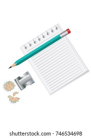 Stationery set - sheet is lined up for entries - pencil, sharpener with shavings - isolated on white background - bitmap image