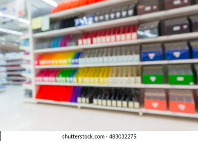 Stationery Shop with Shelf and Walkway, Abstract Blur or Defocus Background