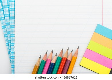 stationery supplies on white background